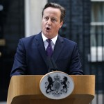 Britain's Prime Minister David Cameron speaks to members of the media in front of 10 Downing Street in London