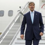 U.S. Secretary of State John Kerry steps off his plane after arriving at London' Stansted Airport for meetings on the ongoing Syrian crisis, on Friday, Sept. 18, 2015. REUTERS/Evan Vucci/Pool