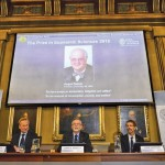 "A picture of British economist Angus Deaton, winner of the 2015 economics Nobel Prize, is seen on a screen as Goran K. Hansson (C), permanent secretary for the Royal Swedish Academy of Sciences, and Tore Ellingsen (L), chairman of the prize committee, and Jakob Svensson, member of the Academy, address a news conference at the Royal Swedish Academy of Science, in Stockholm, Sweden October 12, 2015. Deaton won the 2015 economics Nobel Prize for ""his analysis of consumption, poverty, and welfare,"" the Royal Swedish Academy of Sciences said on Monday. The economics prize, officially called the Sveriges Riksbank Prize in Economic Sciences in Memory of Alfred Nobel, was established in 1968.  REUTERS/Maja Suslin/TT News AgencyATTENTION EDITORS - THIS IMAGE WAS PROVIDED BY A THIRD PARTY. FOR EDITORIAL USE ONLY. NOT FOR SALE FOR MARKETING OR ADVERTISING CAMPAIGNS. THIS PICTURE IS DISTRIBUTED EXACTLY AS RECEIVED BY REUTERS, AS A SERVICE TO CLIENTS. SWEDEN OUT. NO COMMERCIAL OR EDITORIAL SALES IN SWEDEN. NO COMMERCIAL SALES.      TPX IMAGES OF THE DAY"