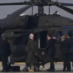 US Secretary of State Rex Tillerson (L) gets in a UH-60 Blackhawk after he arrived at US Osan Air Base in Pyeongtaeck on March 17, 2017. Tillerson began a tour of the region, where tensions have spiked in recent weeks with missile launches from the nuclear-armed North Korea. / AFP PHOTO / JUNG Yeon-Je        (Photo credit should read JUNG YEON-JE/AFP/Getty Images)