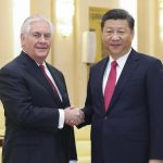 BEIJING, CHINA - MARCH 19:  Chinese President Xi Jinping (R) shakes hands with U.S. Secretary of State Rex Tillerson before their meeting at at the Great Hall of the People on March 19, 2017 in Beijing, China. Tillerson is on his first visit to Asia as Secretary of State.  (Photo by Lintao Zhang/Getty Images)