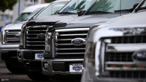 COLMA, CA - APRIL 28:  New Ford F-150 pickups are displayed on the sales lot at Serramonte Ford on April 28, 2015 in Colma, California. Ford Motor Co. reported a 6.6 percent drop in first quarter earnings with net income of $924 million, or 23 cents a share, compared to $989 million, or 24 cents, one year ago. A higer than expecte tax rate and factory retooling to accomodate the new aluminum-bodied F-150 pickup contributed to the quarterly decline. The F-Series pickups accounts for 90 percent of Ford's global automotive profits.  (Photo by Justin Sullivan/Getty Images)