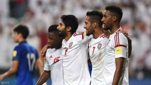 ABU DHABI, UNITED ARAB EMIRATES - OCTOBER 06: Ali Ahmed Mabkhout (2nd R) of UAE celebrates scoring the opening goal with Salem Salem Al Rejaibi (2nd L), Ismail Al Hammadi (R) and Khamis Esmaeel (R) during the 2018 FIFA World Cup Qualifier match between UAE and Thailand at Mohamed Bin Zayed Stadium on October 6, 2016 in Abu Dhabi, United Arab Emirates. (Photo by Tom Dulat/Getty Images)