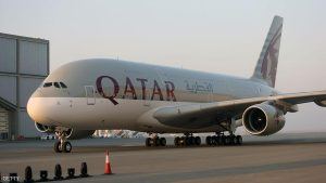 Qatar Airways takes delivery of its first Airbus A380 on September 18, 2014, at Hamad International Airport in Doha. Qatar Airways expected to take delivery of the super-jumbo in May but the order has been delayed. AFP PHOTO / FAISAL AL-TAMIMI (Photo credit should read FAISAL AL-TAMIMI/AFP/Getty Images)
