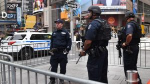 New York Police Department (NYPD) Counterterrorism units patrol Times Square in New York City on May 23, 2017 the morning after the Islamic State group claimed responsibility Tuesday for a suicide bombing at a packed Manchester pop concert, killing at least 22 people. / AFP PHOTO / TIMOTHY A. CLARY (Photo credit should read TIMOTHY A. CLARY/AFP/Getty Images)