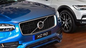A Volvo XC 90 is pictured at the Volvo Cars Showroom in Stockholm, Sweden, on July 05, 2017.   Volvo Cars CEO Hakan Samuelsson said that all Volvo cars will be electric or hybrid within two years. The Chinese-owned automotive group plans to phase out the conventional car engine. / AFP PHOTO / TT NEWS AGENCY AND TT News Agency / Jonas EKSTROMER / Sweden OUT        (Photo credit should read JONAS EKSTROMER/AFP/Getty Images)