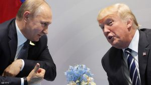 US President Donald Trump (R) and Russia's President Vladimir Putin speaks during their meeting on the sidelines of the G20 Summit in Hamburg, Germany, on July 7, 2017. Leaders of the world's top economies will gather from July 7 to 8, 2017 in Germany for likely the stormiest G20 summit in years, with disagreements ranging from wars to climate change and global trade. / AFP PHOTO / SPUTNIK / Mikhail KLIMENTIEV (Photo credit should read MIKHAIL KLIMENTIEV/AFP/Getty Images)