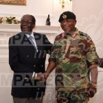 President Robert Mugabe poses with General Constantino Chiwenga at State House in Harare, Zimbabwe, November 16, 2017. ZIMPAPERS/Joseph Nyadzayo/Handout via REUTERS ATTENTION EDITORS - THIS IMAGE HAS BEEN SUPPLIED BY A THIRD PARTY. NO RESALES. NO ARCHIVES. ZIMBABWE OUT