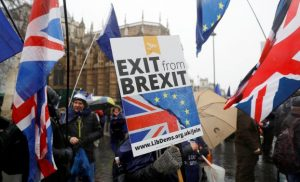 Anti Brexit protesters demonstrate outside the Houses of Parliament in London, Britain December 11, 2017. REUTERS/Peter Nicholls